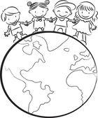 Kids standing on earth — Foto Stock