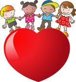 Kids standing on a heart shape — Foto de Stock