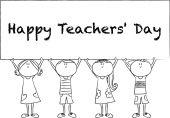 Cartão de feliz teachers'day desenho desenho animado — Fotografia Stock