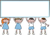 Cartoon drawing kids with blank border — Stock Photo