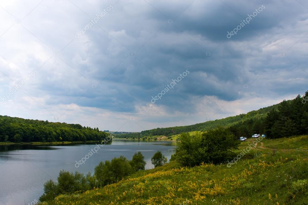 Фотообои Summer landscape misty morning on the river in the west Ukraine and the railroad along the shore