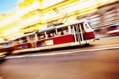Tram speeding in Prague — Stock Photo