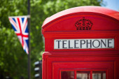 Red phone cabine in London — Stock Photo