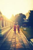 Buddhist monks against the sunset — Stock Photo