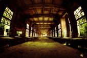 Interior in old industrial building — Stock Photo