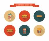 Fast food icons set — Vector de stock
