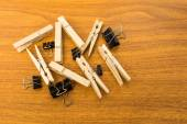 Group of Black Clip and Wood Clothespins with Random Pattern — Stock Photo