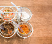 Thai Condiment for Noodle with Four Glasses of Ingredient — Stock Photo