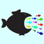 Big and small fishes — Stock Vector