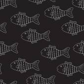 Black and white pattern with fish — Wektor stockowy