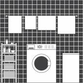 Laundry interior — Stock Vector