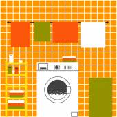 Orange laundry interior — Vettoriale Stock