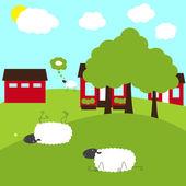 Sheep on fancy farm — Stock Vector