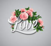 Word Love with flowers — Stock Vector