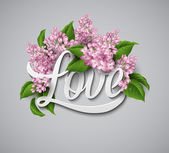 Word Love with flowers — Vettoriale Stock