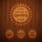 Badges on a wooden background — Vector de stock
