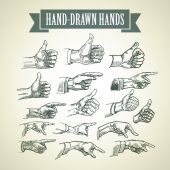 Set of vintage hand-painted hands. Vector illustration — Stock Vector