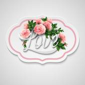 Word Love with flowers. Vector illustration — ストックベクタ