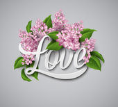 Word Love with flowers. Vector illustration — Stock Vector