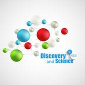 Química, ciência e descoberta. Ilustração em vetor. Frascos de molécula — Vetor de Stock