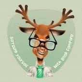 Deer hipster. Vector illustration — Stock vektor