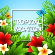 Exotic vacation. Vector illustration with tropical plants and flowers — Stock Vector #70672987
