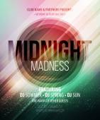 Midnight Madness Party. Template poster. Vector illustration — Stock Vector