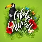 Aloha Hawaii. Hand lettering with exotic flowers. Vector illustration — Stock vektor