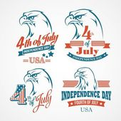 Independence Day typography and an eagle. Vector illustration — Stockvektor