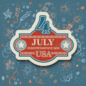Retro typography card Independence Day. Vector illustration — Stock Vector