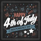 Typography card Independence Day. Chalk board. Vector illustration — Stock Vector
