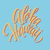 Aloha Hawaiian handmade lettering. Vintage textured hand crafted ink drawing. — Stock Vector