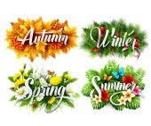 Four Seasons  Typographic Banner. Vector illustration — Stock Vector