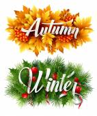 Auyumn and Winter Typographic Banner. Vector illustration — Stock Vector
