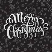 Merry Christmas lettering in chalk seamless pattern — Stock Vector