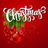 モミの木の枝とクリスマス文字カード。ベクトル図 — ストックベクタ