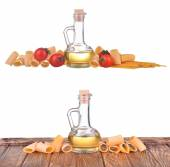 Set of pasta spaghetti noodles, bottle with olive oil, sunflower oil, yellow oil, cherry tomatoes isolated on white background — Fotografia Stock