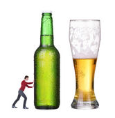 No alcohol, man push bottle with alcohol. man shows gesture of refusal — Foto de Stock