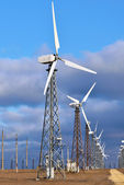 Group of windmill for renewable electric energy production, landscape, cloud, sky — Stockfoto