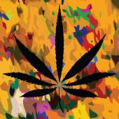 Colorful image of cannabis leaves in abstract art style — Vector de stock