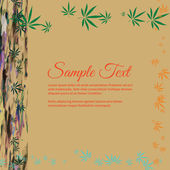 Frame for text with colorful image of Cannabis leaves in abstrac — Stok Vektör
