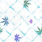 Colorful abstract seamless vector pattern with Cannabis leaves, scratches and grid — Stock Vector