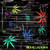 抽象的なアート スタイルと言葉マリファナ、少しサイケデリックな方法で大麻葉のカラフルなイメージ — ストックベクタ