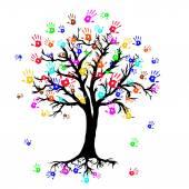 Image vectorielle d'arbre avec le symbole mains coloré dans le style abstrait — Vecteur