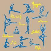 Yoga ballet icons set — Stock Vector