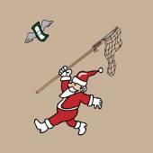Santa chasing flying banknote by net cartoon — Stock Vector