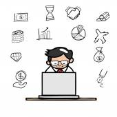 Businessman working with computer — Stock Vector
