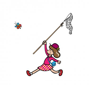 Girl catching butterfly by net