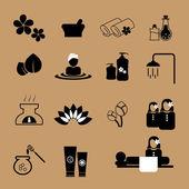 Spa masáž ikony nastavit — Stock vektor