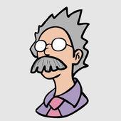 Professor glasses man character — Stock Vector